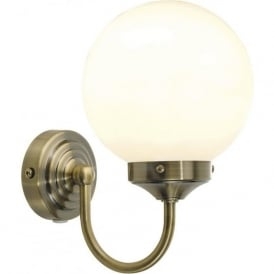 BAR0775 Barclay 1 Light Switched Bathroom Wall Light Antique Brass IP44