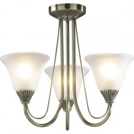 BOS03 Boston 3 Light Traditional Ceiling Light Antique Brass Finish Complete With Acid Etched Glass