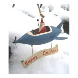 "Shoeless Joe 3676 Santa On Blue Plane With ""Happy Christmas"""