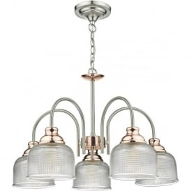 Dar WHA0546 Wharfdale 5 Light Ceiling Light Satin Chrome/Copper