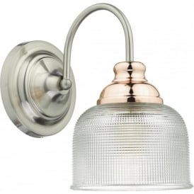 Dar WHA0746 Wharfdale 1 Light Switched Wall Light Satin Chrome/Copper