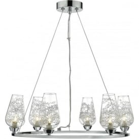 Dar NIN0650 Nina 6 Light Ceiling Pendant Polished Chrome