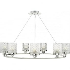 Dar VIC1338 Victoria 9 Light Ceiling Pendant Polished Nickel