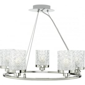 Dar VIC0538 Victoria 5 Light Ceiling Pendant Polished Nickel