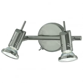 Franklite SPOT8882 Scintilla 2 Light Switched Wall Spotlight Satin Nickel