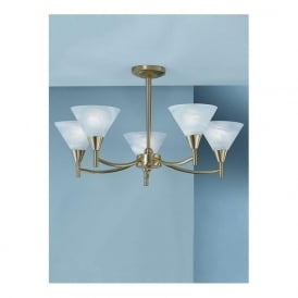 Franklite PE8015 Harmony 5 Light Ceiling Light Satin Brass