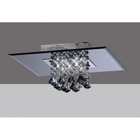 IL31002 Starda Square 5 Light Crystal Semi-flush Ceiling Light Polished Chrome/Smoked Mirror
