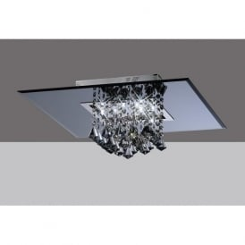 IL31006 Starda Square 8 Light Crystal Semi-flush Ceiling Light Polished Chrome/Smoked Mirror