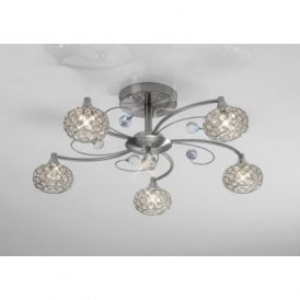 IL30935 Cara 5 Light Crystal Semi-flush Ceiling Light Satin Nickel