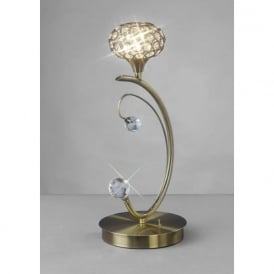 IL30949 Cara 1 Light Crystal Table Lamp Antique Brass