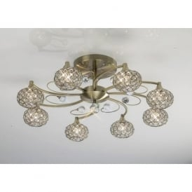 IL30948 Cara 8 Light Crystal Semi-flush Ceiling Light Antique Brass