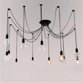 Alfie Lighting AL-12SP 12 Light Suspension Spider Pendant Ceiling Light in Black Finish