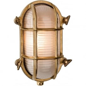 Alfie Lighting AL-ADM1 Adminal 1 Light Oval Bulk Head Wall Light Brass IP64