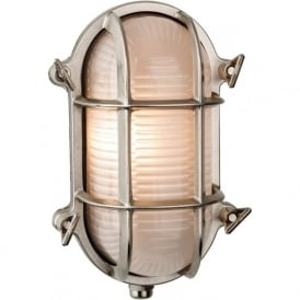 Alfie Lighting AL-ADM3 Adminal 1 Light Oval Bulk Head Wall Light Nickel IP64