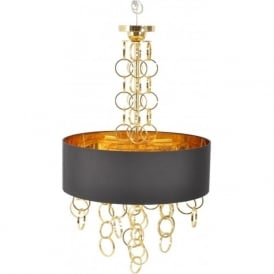 Libra 367215 Links Gold Chandelier With Black and Gold Shade