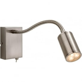 FirstLight 3454BS Orion LED Flexi Switched Wall Light Brushed Steel