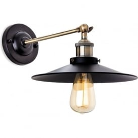 FirstLight 5933BK Ashby Wall Light Black with Antique Brass
