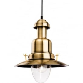 Firstlight 4874AB Fisherman Classic 1 Light Ceiling Pendant Antique Brass