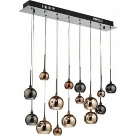 Dar AUR6264 Aurelia 15 Light Ceiling Pendant Black Chrome