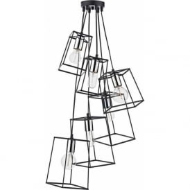 TOW0650 Tower 6 Light Cluster Pendant Black and Chrome