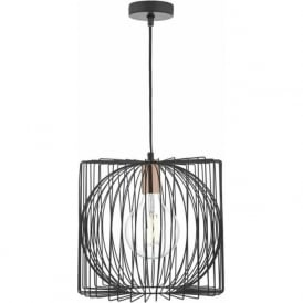 Dar TAP0122 Taplow 1 Light Ceiling Pendant Black and Copper