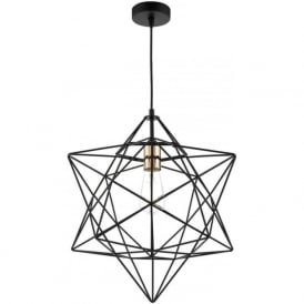 Dar LUA0122 Luanda 1 Light Ceiling Pendant Black and Copper
