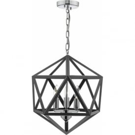 Dar LEV0337 Levaine 3 Light Ceiling Pendant Polished Chrome / Graphite