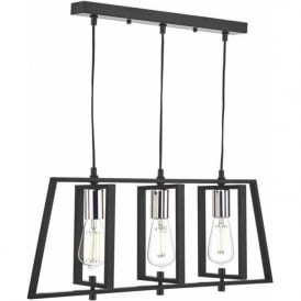 Dar DAX0350 Dax 3 Light Ceiling Pendant Black and Chrome