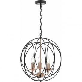Dar PHO0322 Phoenix 3 Light Ceiling Pendant Black and Copper