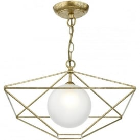 Dar ORS0135 Orsini 1 Light Ceiling Pendant Antique Gold
