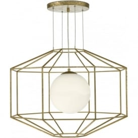 Dar IZM0135 Izmir 1 Light Ceiling Pendant Antique Gold