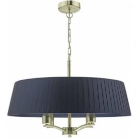 Dar CRI0423 Cristin 4 Light Ceiling Pendant in Satin Brass with Navy Shade