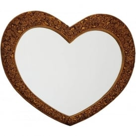 Phamore PMRHEARTMED-GOLD Medium Heart Mirror Gold