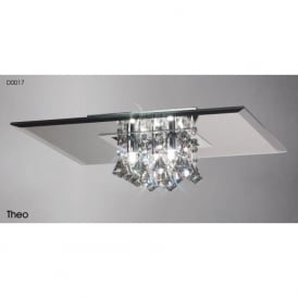 Diyas D0017 Theo Square 5 Light Crystal Flush Ceiling Light Polished Chrome