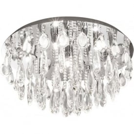 Eglo 93413 Calaonda 7 Light Ceiling Light Steel and Chrome