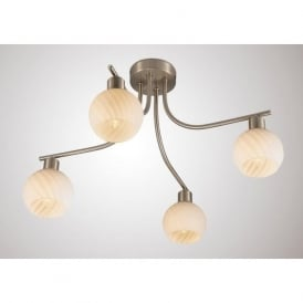 Kitchen lighting kitchen ocean lighting diyas d0067 carmen 4 light ceiling light satin nickel mozeypictures Image collections