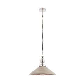 Endon 73076 Melbury 1 Light Ceiling Pendant Wood and Nickel