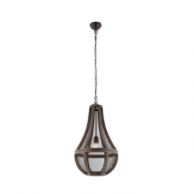 Endon 73576 Nadina 1 Light Ceiling Pendant Dark Wood