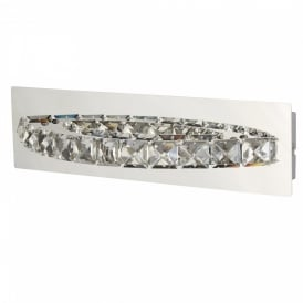 Searchlight 6002CC Clover Crystal LED Switched Wall Light Polished Chrome
