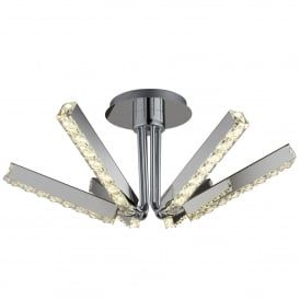 Searchlight 7706-6CC Clover Crystal LED Ceiling Light Polished Chrome