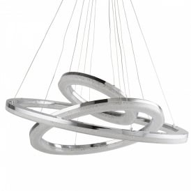 Searchlight 9206-3CC Circle LED Crystal Ceiling Pendant Polished Chrome