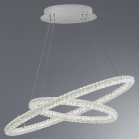 Searchlight 42610-2CC Circle LED Crystal Ceiling Pendant Polished Chrome