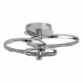 Searchlight 3133-3CC Rings LED Ceiling Light Polished Chrome