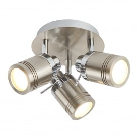 Searchlight 6603SS Samson 3 Light LED Ceiling Spotlight Satin Silver IP44