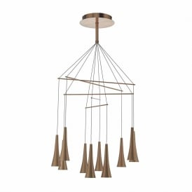 Dar TRO2364 Trombone 10 Light LED Pendant Bushed Copper