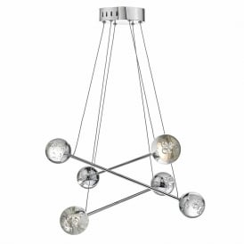 Dar BUB0650 Bubbles 6 Light LED Pendant Polished Chrome