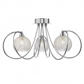 Dar RAF5350 Rafferty 3 Light Ceiling Light Polished Chrome