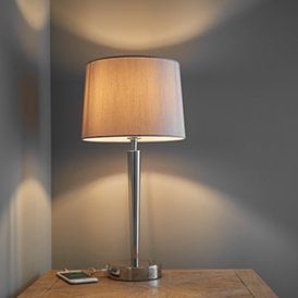 Endon 72175 Syon 1 Light USB Table Lamp Bright Nickel